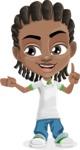 Cute African American Boy Cartoon Vector Character AKA Mason the Cool Boy - Show 2