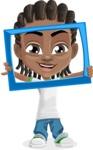 Cute African American Boy Cartoon Vector Character AKA Mason the Cool Boy - Frame