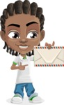 Cute African American Boy Cartoon Vector Character AKA Mason the Cool Boy - Letter