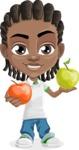 Cute African American Boy Cartoon Vector Character AKA Mason the Cool Boy - Apples