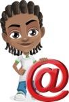 Cute African American Boy Cartoon Vector Character AKA Mason the Cool Boy - Mail