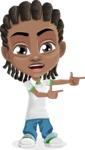 Cute African American Boy Cartoon Vector Character AKA Mason the Cool Boy - Point