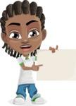 Cute African American Boy Cartoon Vector Character AKA Mason the Cool Boy - Sign 3