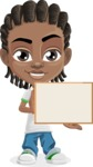 Cute African American Boy Cartoon Vector Character AKA Mason the Cool Boy - Sign 5