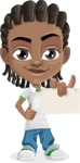 Cute African American Boy Cartoon Vector Character AKA Mason the Cool Boy - Sign 6