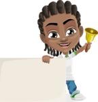 Cute African American Boy Cartoon Vector Character AKA Mason the Cool Boy - Sign 7