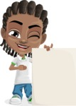 Cute African American Boy Cartoon Vector Character AKA Mason the Cool Boy - Sign 8