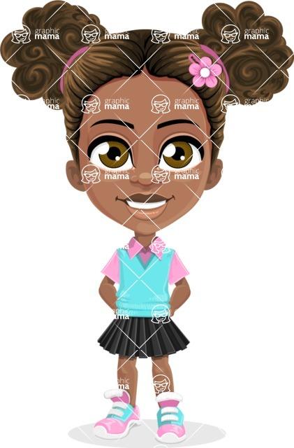 African American School Girl Cartoon Vector Character AKA Anita - Normal