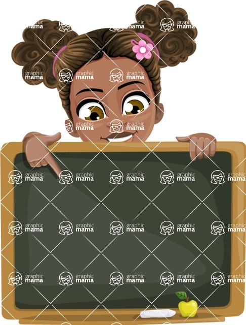 African American School Girl Cartoon Vector Character AKA Anita - Presentation 5