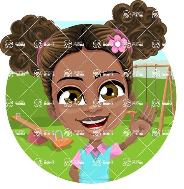 African American School Girl Cartoon Vector Character AKA Anita - Shape 1