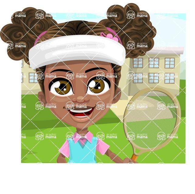 African American School Girl Cartoon Vector Character AKA Anita - Shape 2