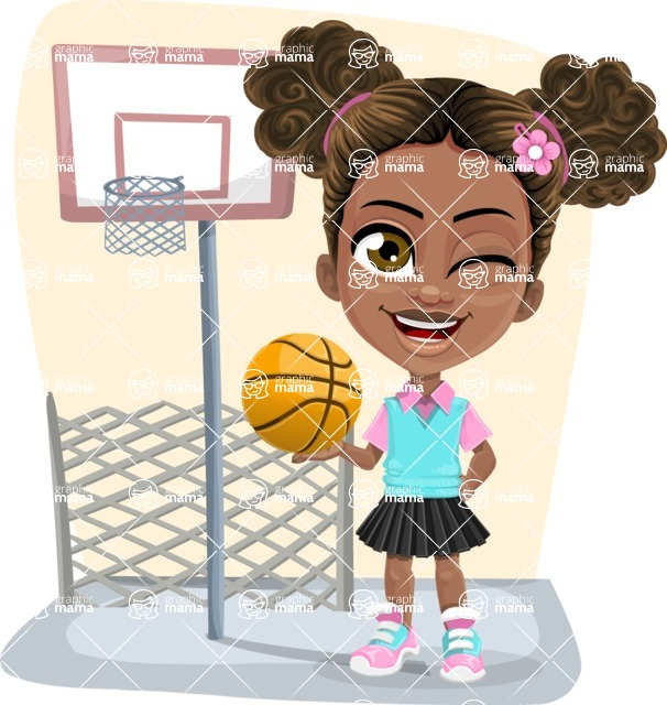 African American School Girl Cartoon Vector Character AKA Anita - Shape 5