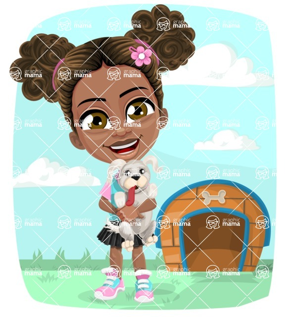 African American School Girl Cartoon Vector Character AKA Anita - Shape 6