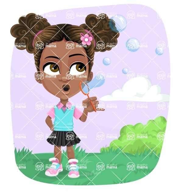 African American School Girl Cartoon Vector Character AKA Anita - Shape 8