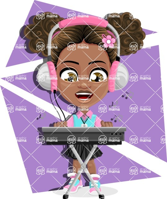 African American School Girl Cartoon Vector Character AKA Anita - Shape 9