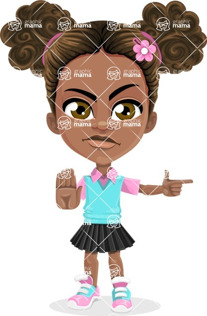 African American School Girl Cartoon Vector Character AKA Anita - Direct Attention