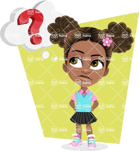 African American School Girl Cartoon Vector Character AKA Anita - Shape 12
