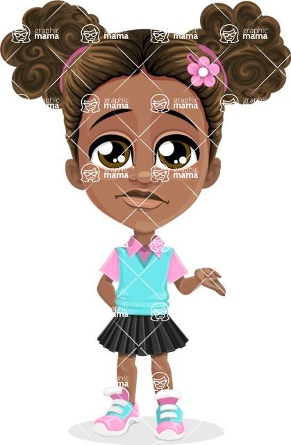African American School Girl Cartoon Vector Character AKA Anita - Sorry