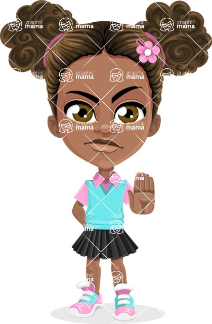 African American School Girl Cartoon Vector Character AKA Anita - Stop 2