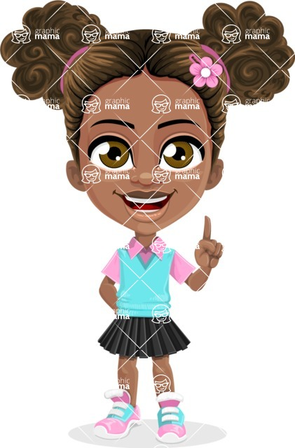 African American School Girl Cartoon Vector Character AKA Anita - Attention
