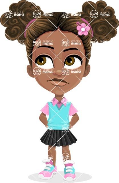 African American School Girl Cartoon Vector Character AKA Anita - Roll Eyes