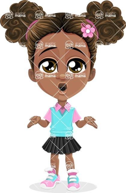 African American School Girl Cartoon Vector Character AKA Anita - Lost