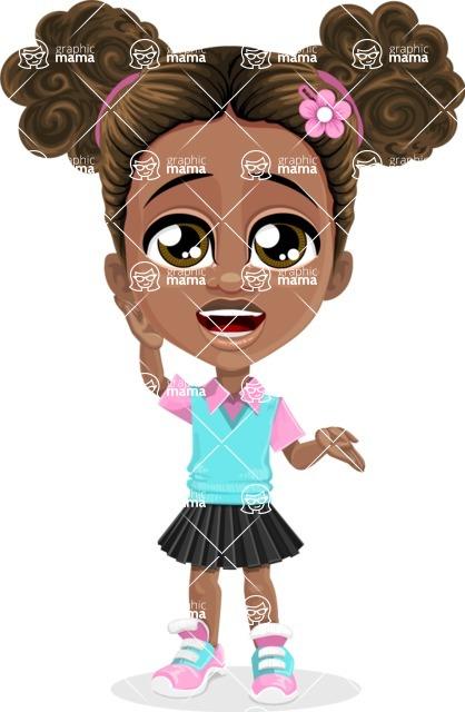 African American School Girl Cartoon Vector Character AKA Anita - Lost 2