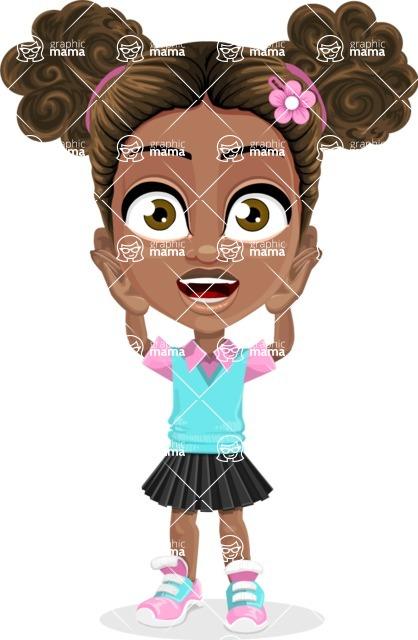 African American School Girl Cartoon Vector Character AKA Anita - Confused