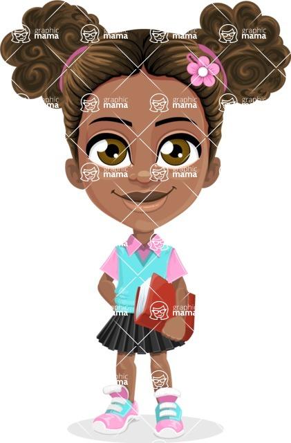 African American School Girl Cartoon Vector Character AKA Anita - Patient