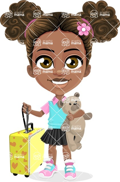 African American School Girl Cartoon Vector Character AKA Anita - Travel