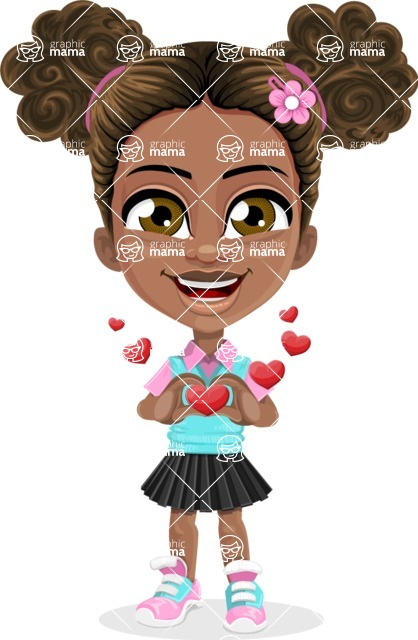 African American School Girl Cartoon Vector Character AKA Anita - Show Love