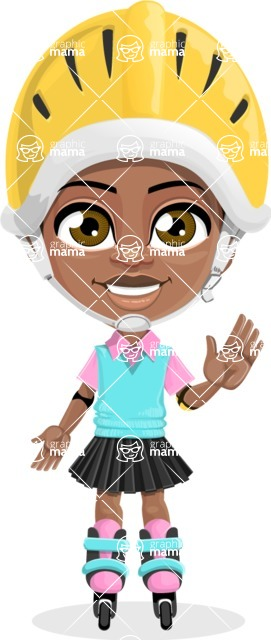 African American School Girl Cartoon Vector Character AKA Anita - Blades