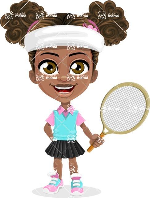 African American School Girl Cartoon Vector Character AKA Anita - Tennis