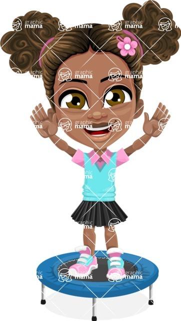 African American School Girl Cartoon Vector Character AKA Anita - Trampoline