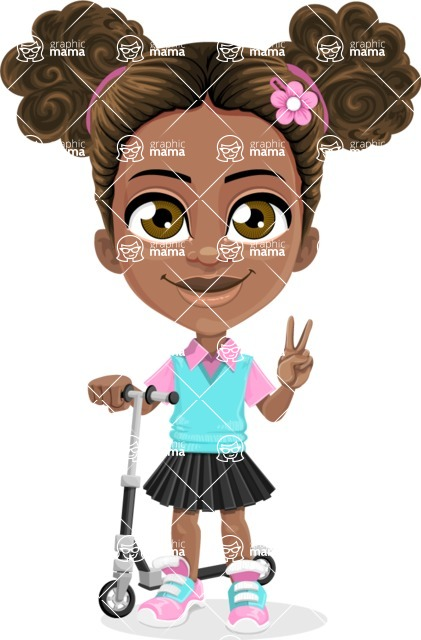 African American School Girl Cartoon Vector Character AKA Anita - Scooter