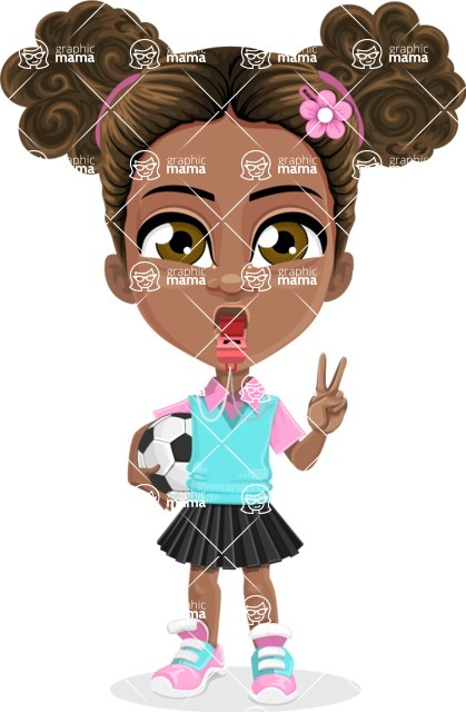 African American School Girl Cartoon Vector Character AKA Anita - Soccer