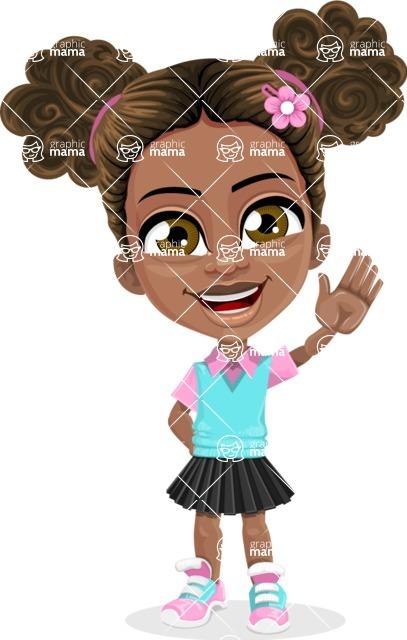 African American School Girl Cartoon Vector Character AKA Anita - Wave