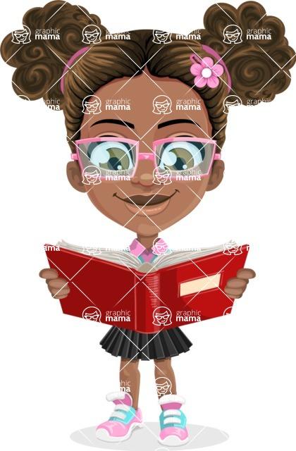 African American School Girl Cartoon Vector Character AKA Anita - Book 1