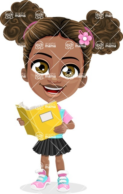 African American School Girl Cartoon Vector Character AKA Anita - Book 2