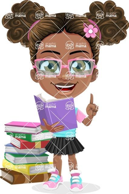 African American School Girl Cartoon Vector Character AKA Anita - Book
