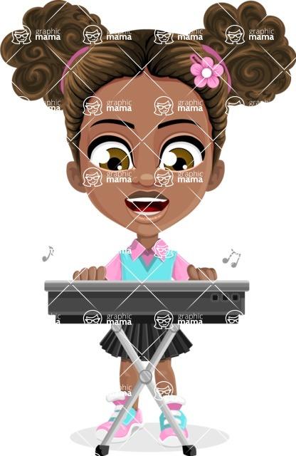 African American School Girl Cartoon Vector Character AKA Anita - Music 1