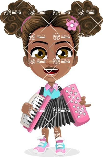 African American School Girl Cartoon Vector Character AKA Anita - Music 2