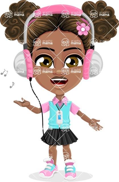 African American School Girl Cartoon Vector Character AKA Anita - Music 3