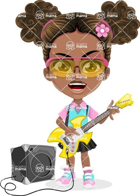 African American School Girl Cartoon Vector Character AKA Anita - Music 4