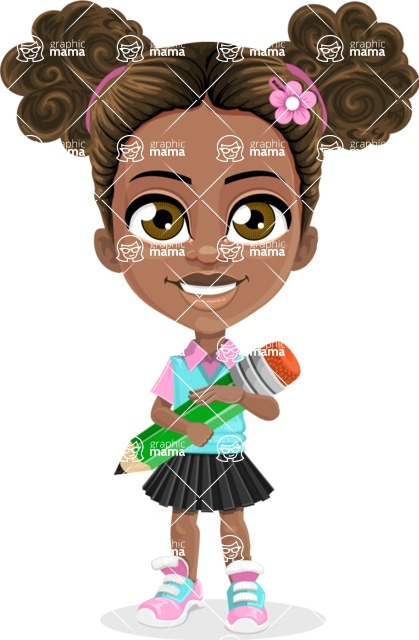 African American School Girl Cartoon Vector Character AKA Anita - Pencil
