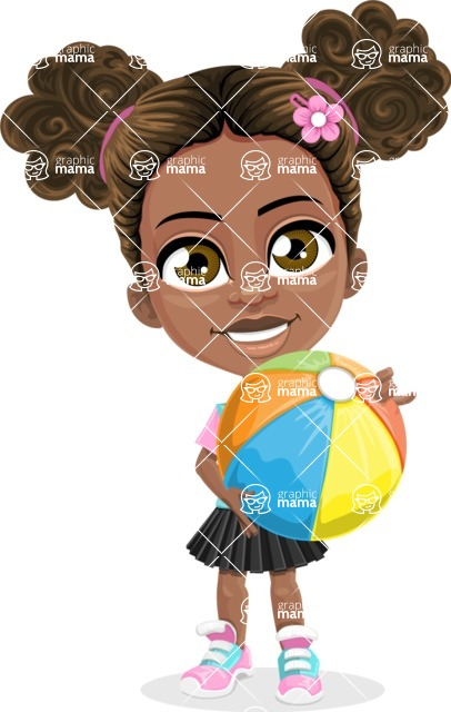 African American School Girl Cartoon Vector Character AKA Anita - Beach 1