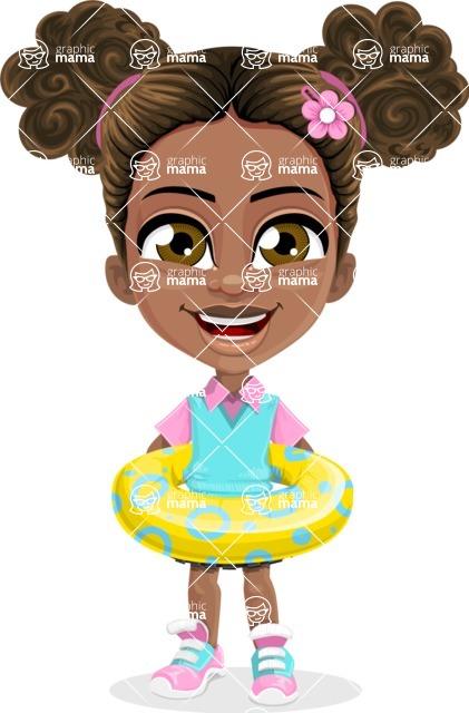 African American School Girl Cartoon Vector Character AKA Anita - Beach 2
