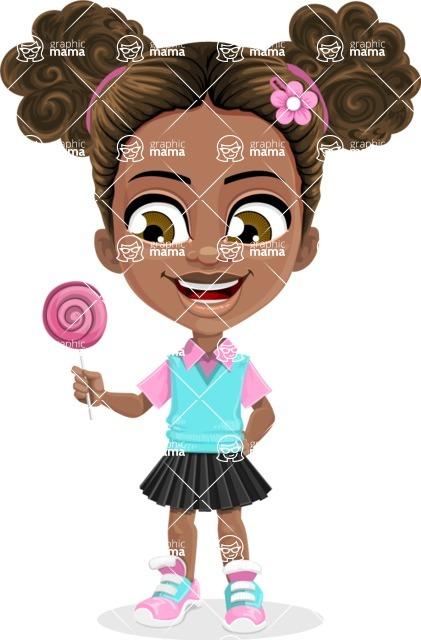 African American School Girl Cartoon Vector Character AKA Anita - Candy