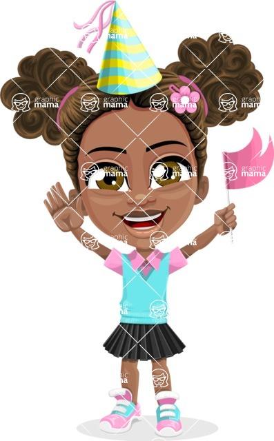 African American School Girl Cartoon Vector Character AKA Anita - Party 1