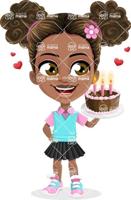African American School Girl Cartoon Vector Character AKA Anita - Party 2